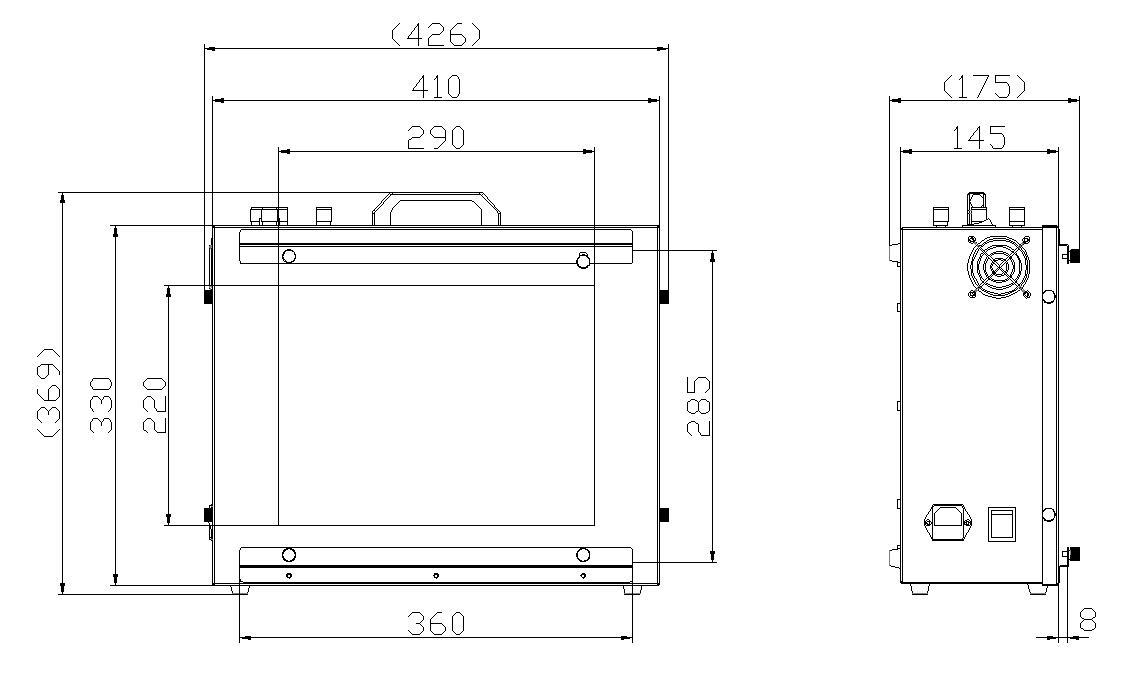 T259000高照度/可调色温透射式�灯箱外形尺寸